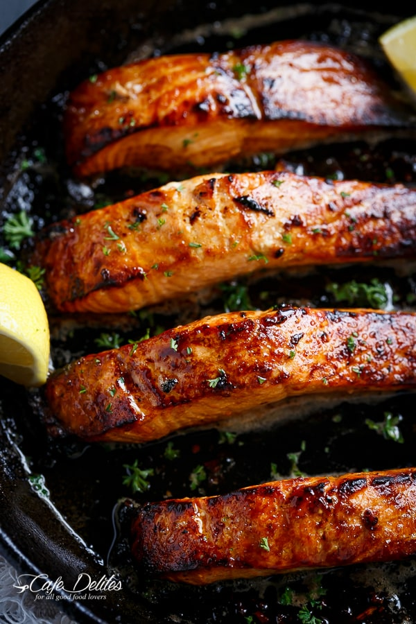 Grilled Garlic Butter King Salmon