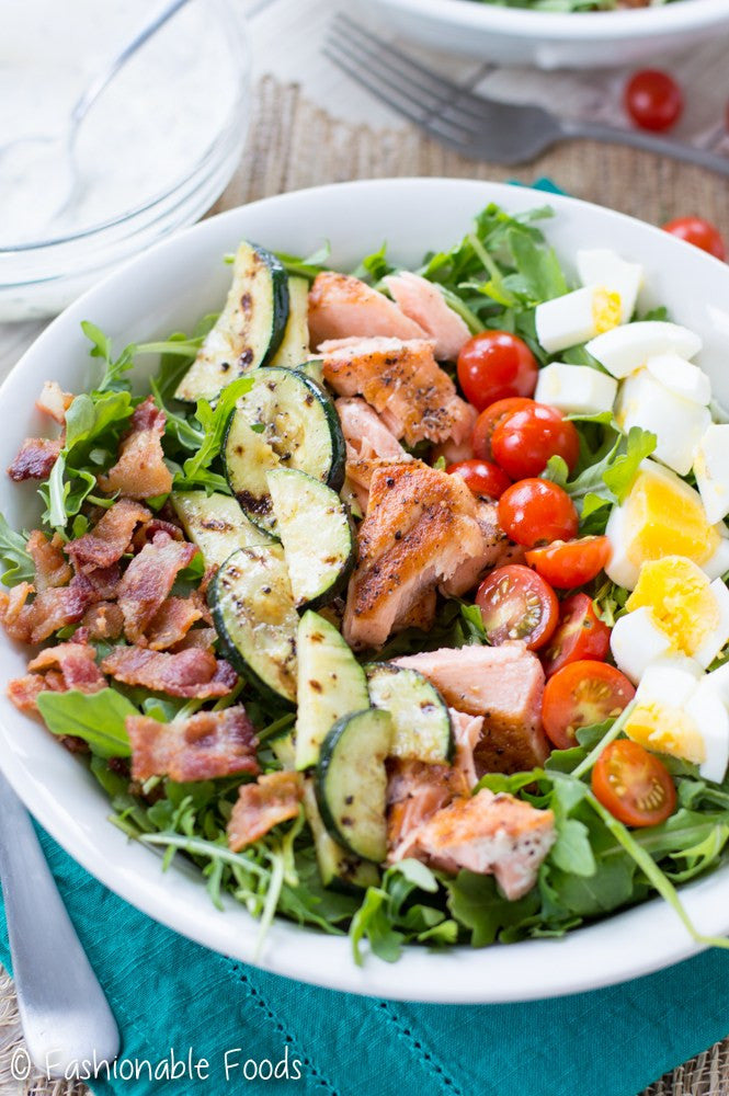 Grilled Salmon Cobb Salad for Whole30