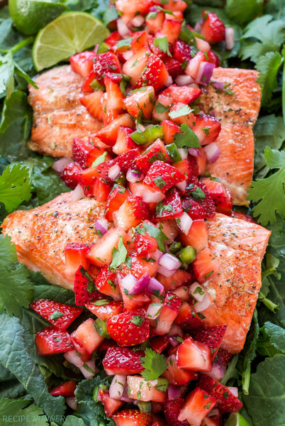 Grilled Salmon With Strawberry Jalapeno Salsa