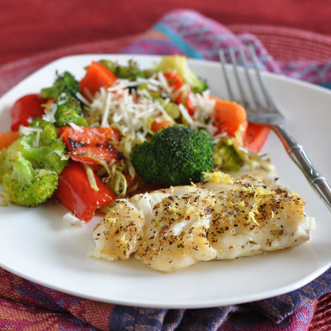 Pan-Seared Haddock for One with Roasted Vegetables