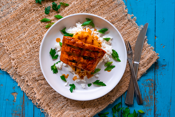 Hawaiian Grilled Salmon Top Down