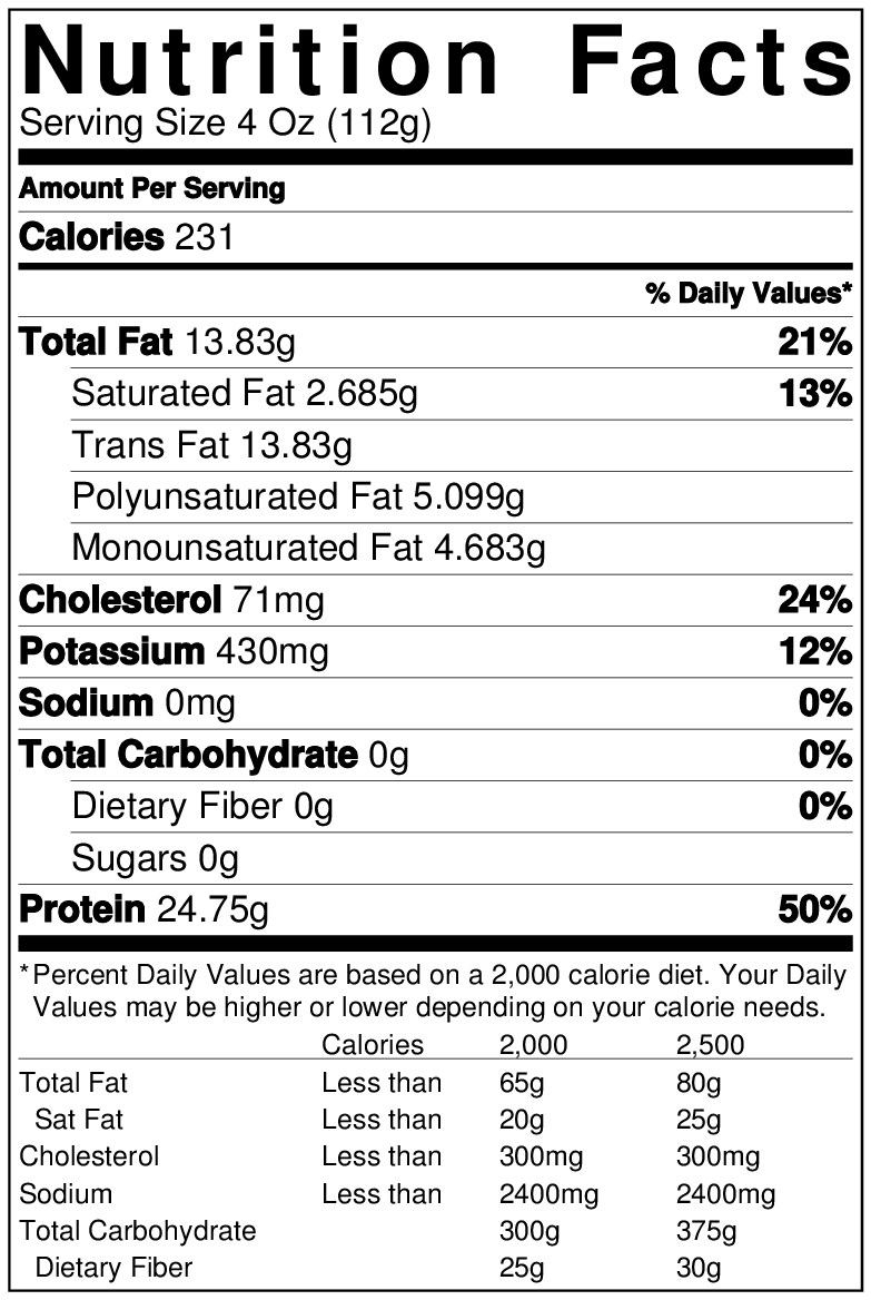 Korean BBQ Salmon nutrition info