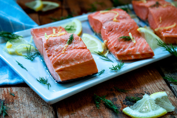 Lemon Dill Poached Salmon on Plate