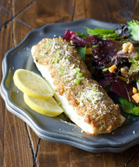 Parmesan & Pecan Crusted Halibut