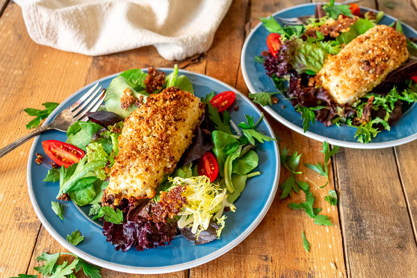 Parmesan Crusted Halibut Served