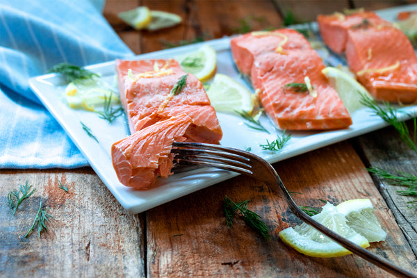 Poached Salmon Served