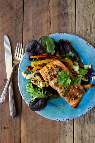 Grilled King Salmon on Plate