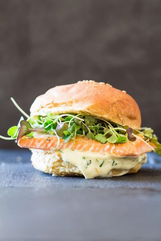 Salmon Burger With Garlic Mayo Recipe