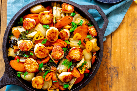 Scallops and Asian Vegetables Served