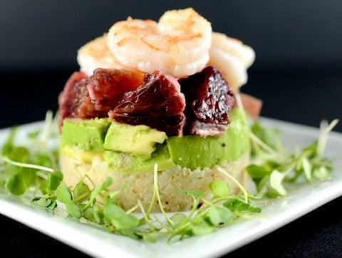 Shrimp Avocado Blood Orange Stack