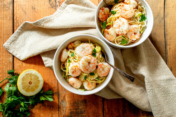lemon garlic butter Shrimp Scampi served on table