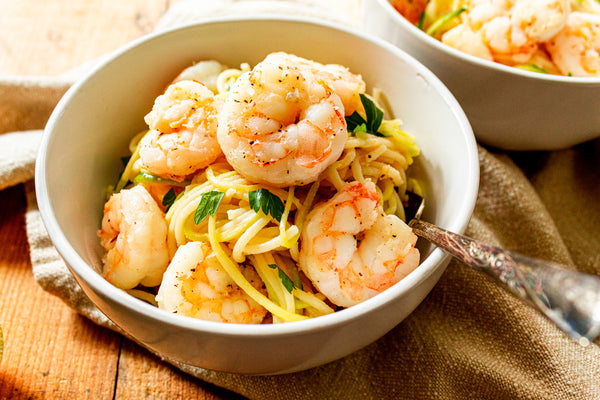 Shrimp Scampi with Lemon Garlic Butter served