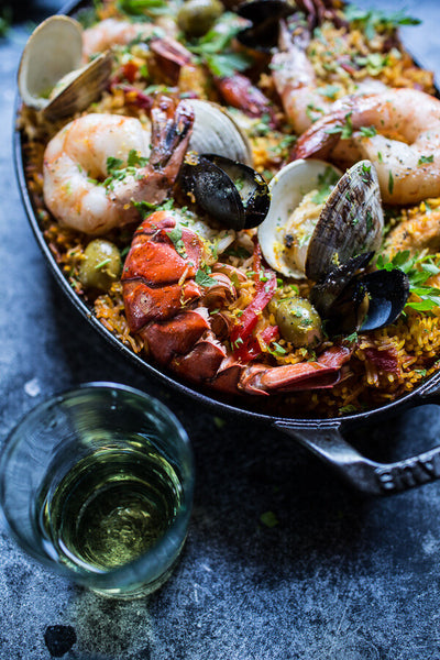 Skillet Grilled Seafood & Chorizo Paella