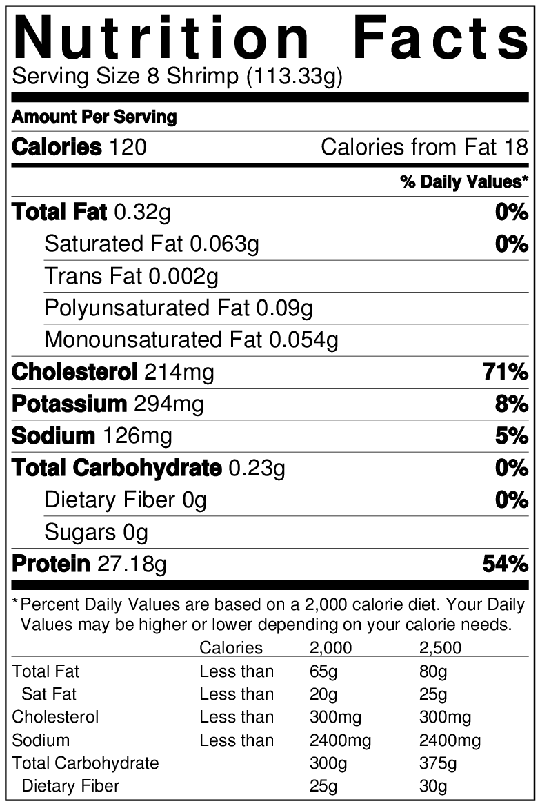 Wild Gulf Shrimp nutrition info