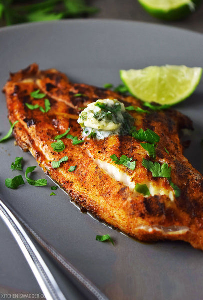 Grilled Catfish With Cilantro Lime Butter