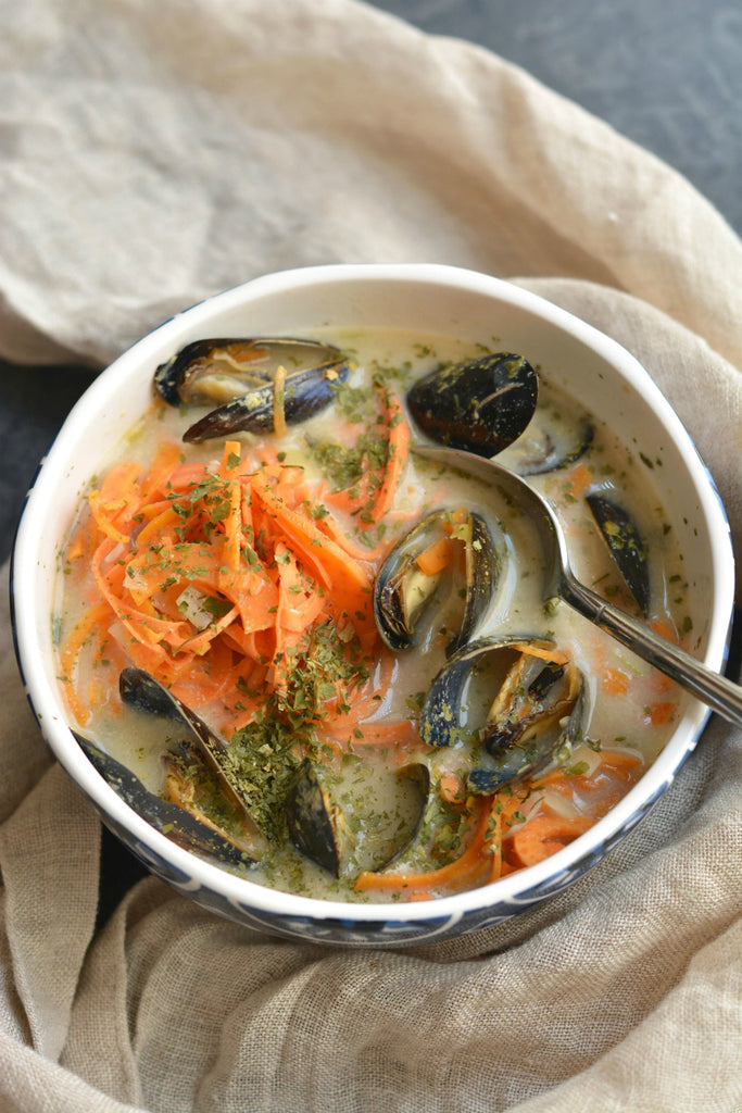 Coconut Sweet Potato Mussel Soup