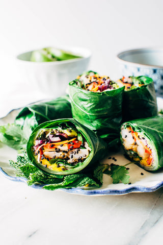 Rainbow Collard Green Shrimp Spring Rolls