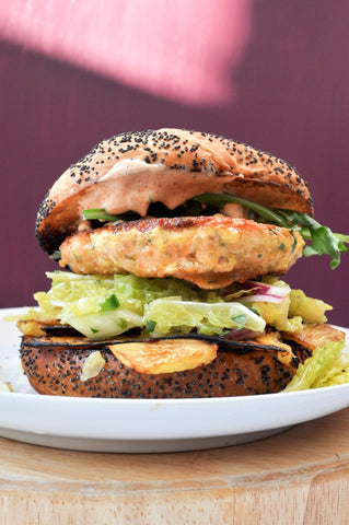 Salmon Burger with Grilled Pineapple Recipe