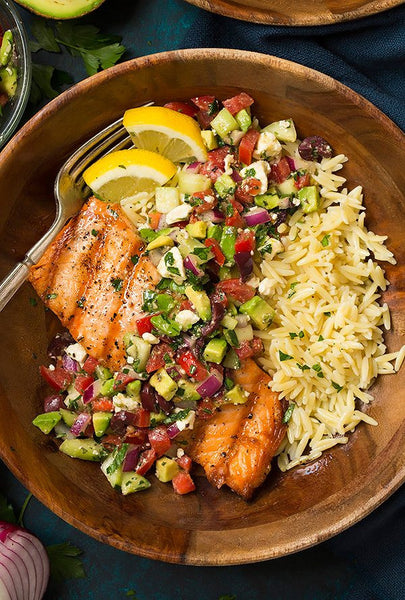 Grilled Salmon With Avocado Greek Salsa