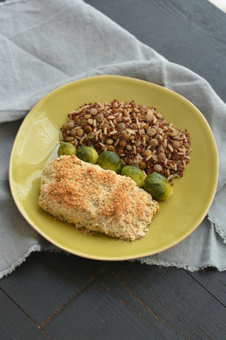 Hemp seed coconut crusted halibut recipe