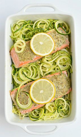 Lemon Herb Salmon with zucchini noodles