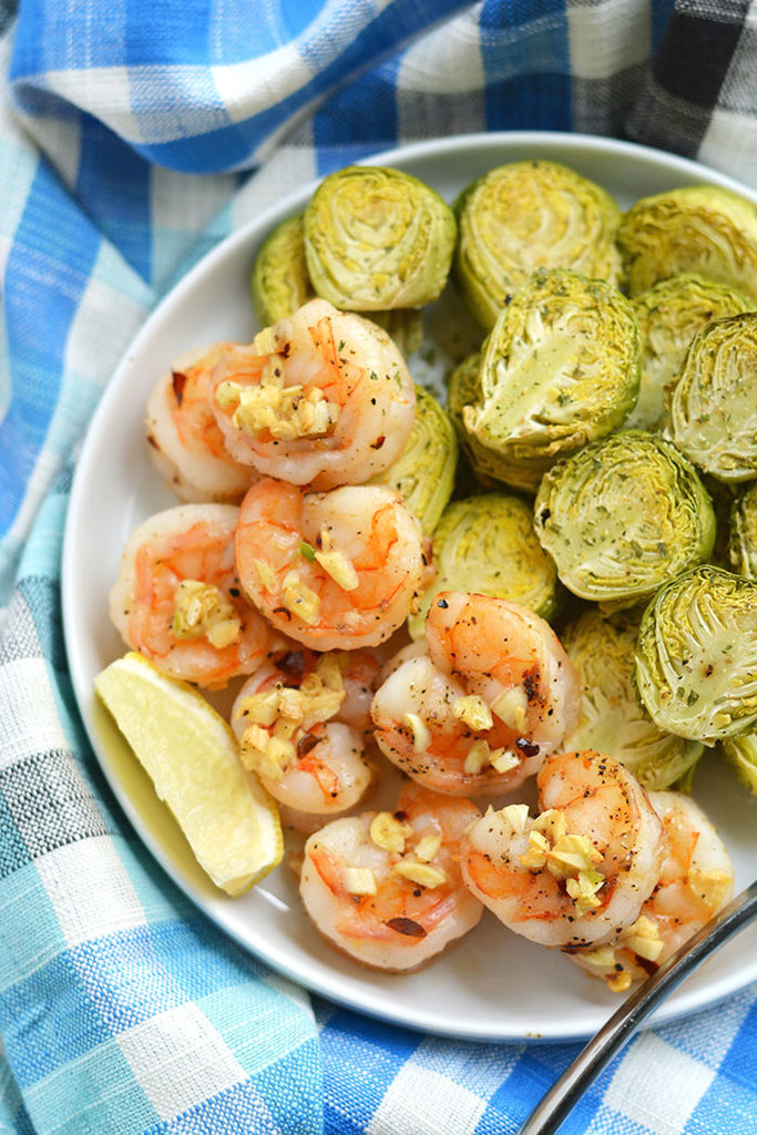 One Pan Shrimp with brussel sprouts