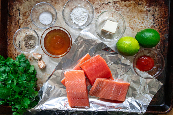 Grilled Salmon in Foil with Spicy Honey Lime Sauce