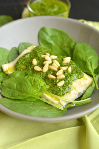 low calorie spinach pesto baked trout