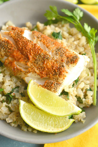 Steamed Halibut With Coconut Lime Cauliflower Rice
