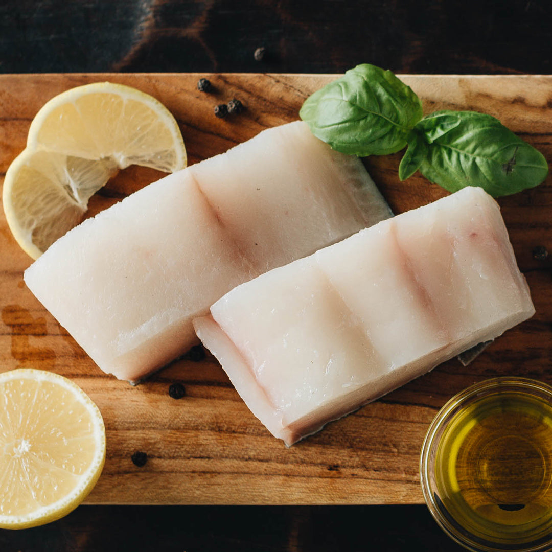 Wild Alaska Halibut on Cutting Board