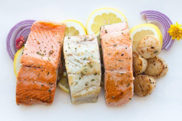Grilled Salmon, Sablefish & Scallops