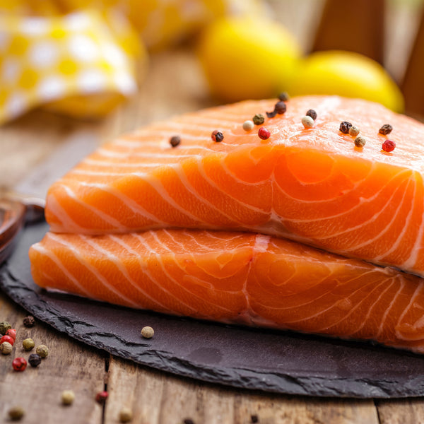 Raw Pacific King Salmon On Plate