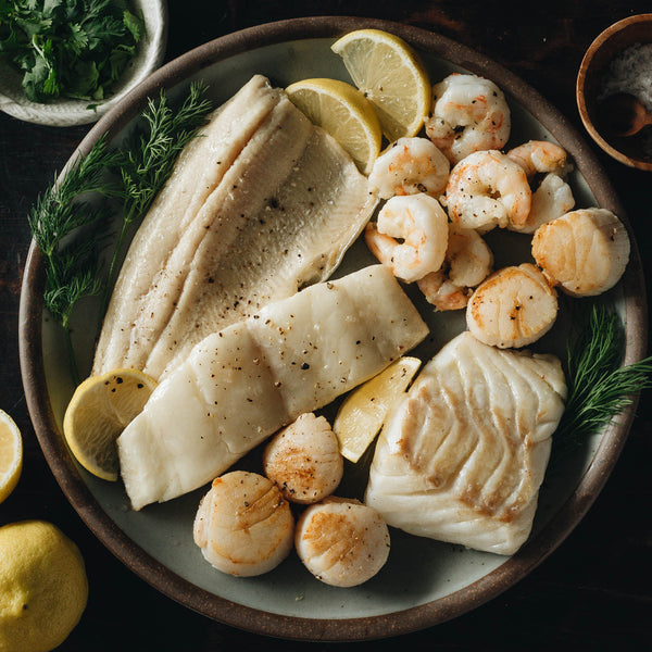 Wild Atlantic Haddock, Rainbow Trout, Sea Scallops and Wild Gulf Shrimp