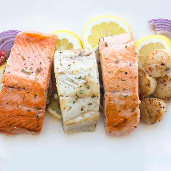 Grilled Natural Alaskan Salmon, Sea Scallops and Haddock
