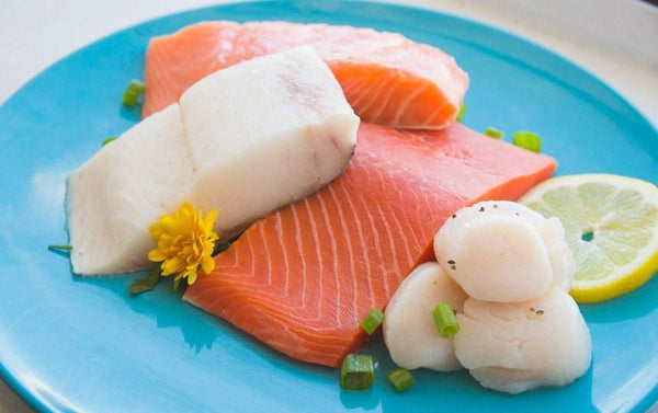 Raw Scallops, Salmon and Sablefish