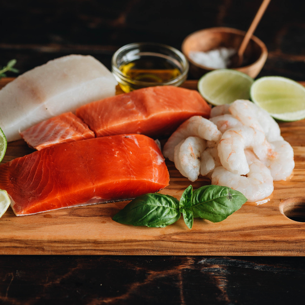 Alaska Sockeye Salmon Shrimp and Coho Salmon
