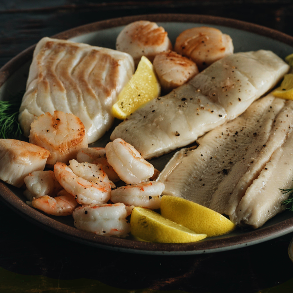 Wild Gulf Shrimp, Atlantic Haddock, Rainbow Trout, and Sea Scallops