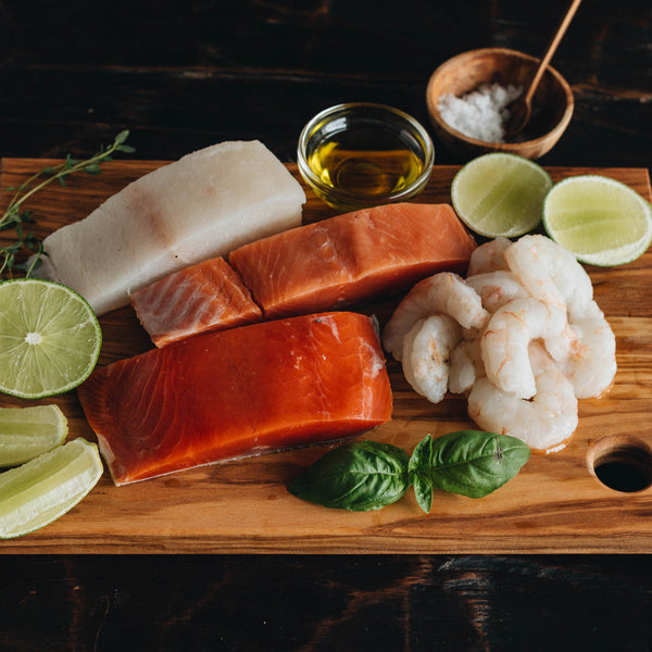 Wild Alaska Salmon, Shrimp, and Halibut
