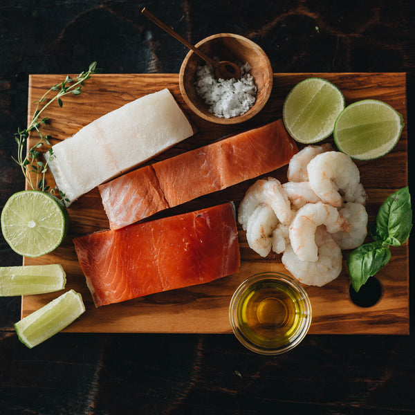 Sockeye Salmon, Coho Salmon, Alaska Halibut, and Gulf Shrimp