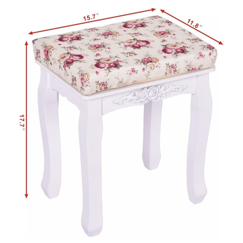 Fabulous White Cushioned Vanity Stool Piano Seat Pine Wood Mdf Panel Short Links Chair Design For Home Short Linksinfo