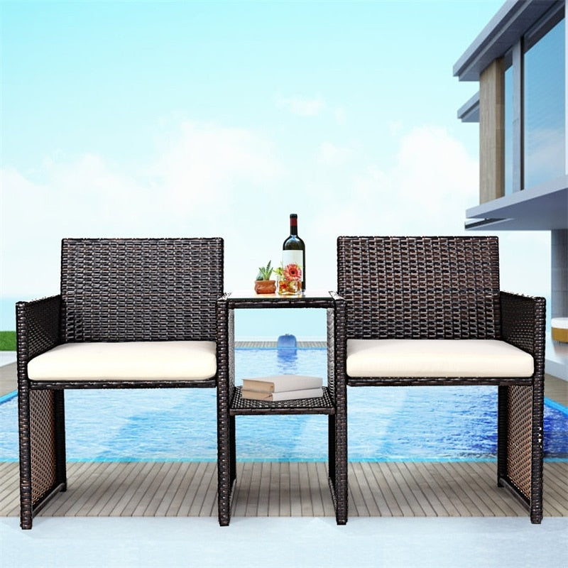 Awesome Patio Rattan Chairs Conversation Cushioned Seat Sofa Set Pdpeps Interior Chair Design Pdpepsorg