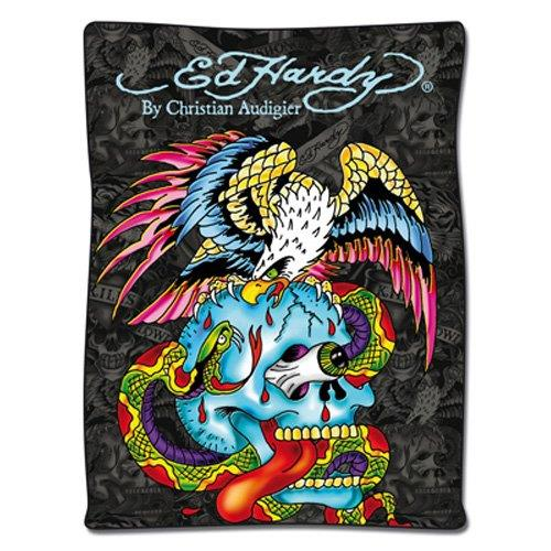 Ed Hardy 10332200 Fleecedecke Battle grau/bunt