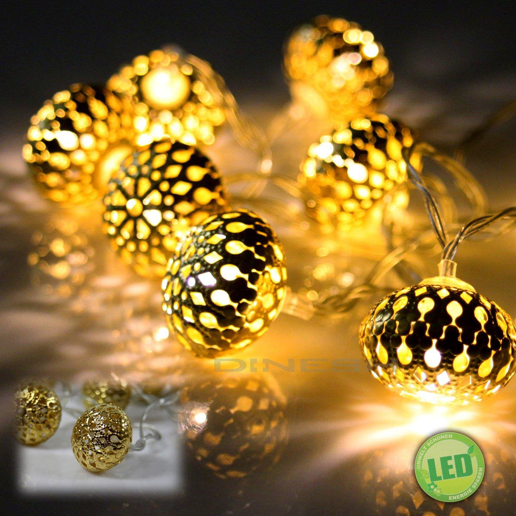 "(894) 10er LED ""Oriental"" Lichterkette Kugel LED Ball Lichterkette Batterie"