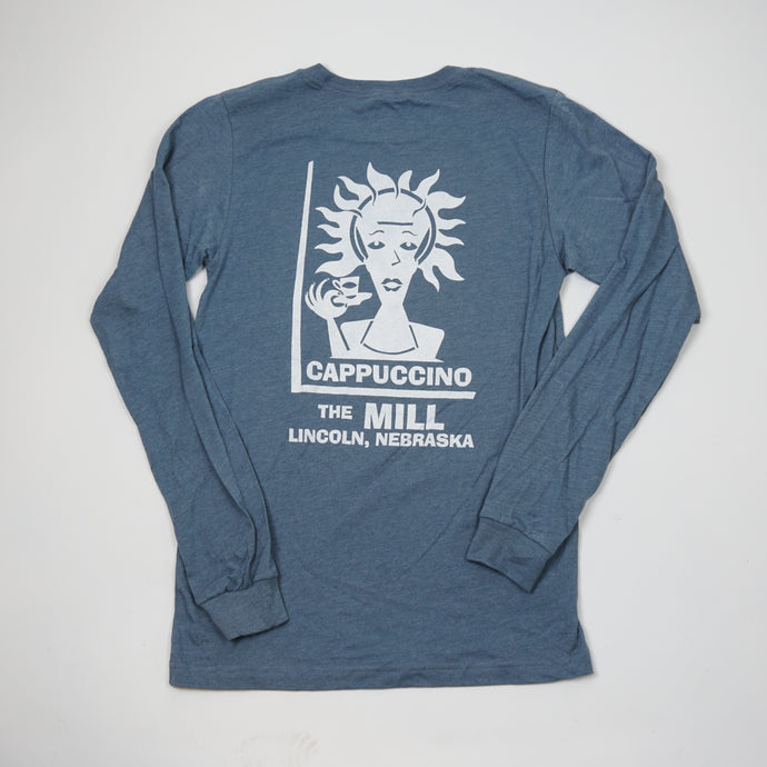 Long Sleeve Heather Blue Spiky T-Shirt