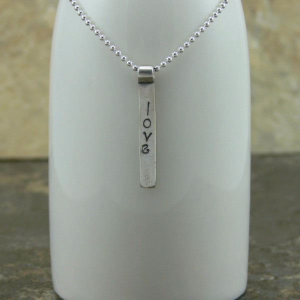 Stamped Sterling Silver Inspirational Bar Pendant