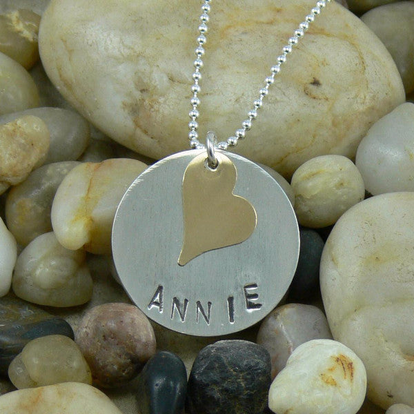 Stamped Sterling Silver Circle with Gold Heart Pendant