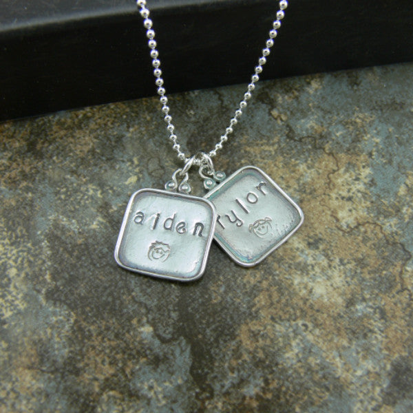 Hand-Stamped Square Necklace