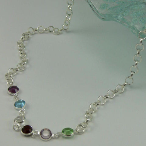 Swarovski Crystal Birthstone Link Necklace
