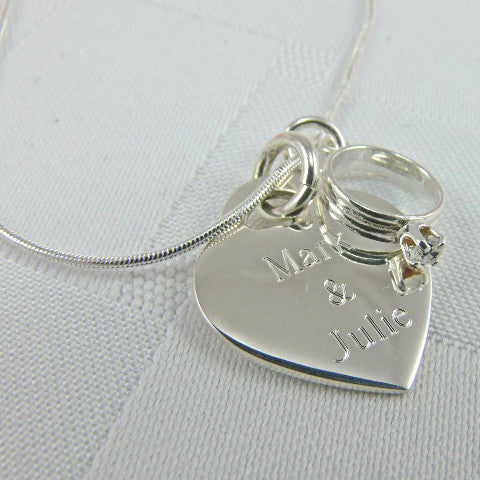 Engraved Heart Pendant With Ring Charm