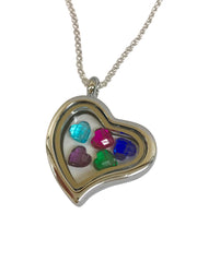 Heart Locket with Floating Heart Birthstones